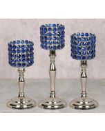 India Circus Blue Crystal Candle Holder Cylindrical Set of 3