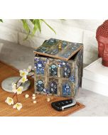 India Circus Blue Departed Memoirs Square Storage Box
