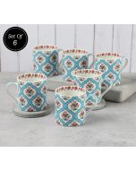 India Circus Blue Lattice Motifs Coffee Mugs Set of 6