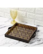 India Circus Damask Print Leather Tray
