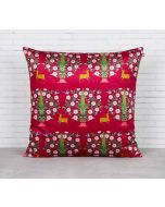 India Circus Deer and Conifer Garden Blended Velvet Cushion Cover