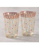 India Circus Diamond Motifs Glass Tumbler Set of 2