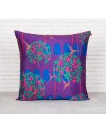 India Circus Eggplant Berry Pecker Blended Taf Silk Cushion Cover