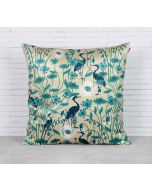 India Circus Egrets Botanical Treat Blended Velvet Cushion Cover