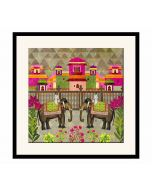 India Circus Field of Frolic Framed Wall Art