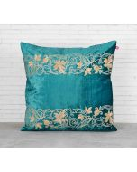 India Circus Floral Bandage Peacock Green Embroidered Velvet Cushion Cover