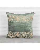 India Circus Floral Bandage Siege Green Embroidered Velvet Cushion Cover