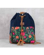India Circus Floral Ecstasy Denim Hobo Bag