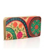 India Circus Floral Embroidery Ladies Zipper Wallet