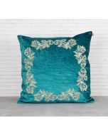 India Circus Floral Enigma Peacock Green Embroidered Velvet Cushion Cover