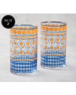 India Circus Floral Hypnosis Small Glass Tumbler (Set of 2)