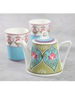 India Circus Floral Illusion Tea Kettle Set