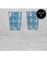 India Circus Flowers and Ferns Wine Glasses Set of 2