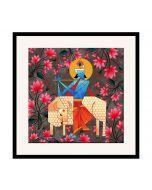India Circus Geometrical Krishna 16 x 16 and 24 x 24 Framed Wall Art