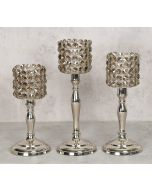 India Circus Grey Crystal Candle Holder Cylindrical Set of 3