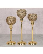 India Circus Grey Crystal Candle Holder Set of 3