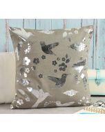 India Circus Grey Flock of Birds Foil Cushion Cover
