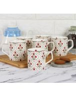 India Circus Grey Poppy Flower Mug Set of 6