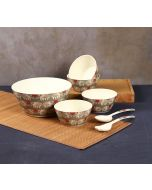 India Circus Heart Tusker Bamboo Salad Bowl Set
