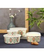 India Circus Lattice Blooms Bamboo Container Set