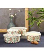 India Circus Lattice Blooms Bamboo Container Set