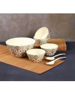 India Circus Lattice Blooms Bamboo Salad Bowl Set