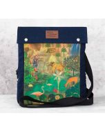 India Circus Mapping Animals Sling Denim Backpack