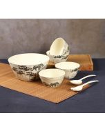 India Circus Monochrome Palatial Courtyard Bamboo Salad Bowl Set