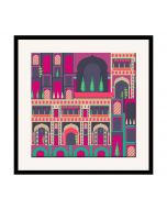 India Circus Mughal Corridor 16 x 16 and 24 x 24 Framed Wall Art