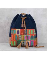 India Circus Mughal Doors Reiteration Denim Hobo Bag