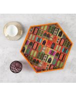 India Circus Mughal Doors Reiteration Hexagon Serving Tray