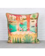 India Circus Panoramic Backwaters Blended Taf Silk Cushion Cover