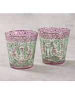 India Circus Parakeet Florals Glass Tumbler Set of 2