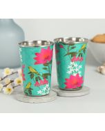 India Circus Parrot & Blooms Steel Tumbler (Set of 2)