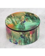 India Circus Peacock Dwar Round Storage Box