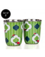 India Circus Peeking Parrots Steel Tumblers Set of 2