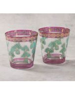 India Circus Pineapple Stem-Green Glass Tumbler Set of 2
