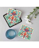 India Circus Pistachio Birds and Floral Burst Table Coaster