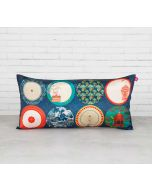 "India Circus Platter Portrayal 16"" x 8"" Blended Taf Silk Cushion Cover"