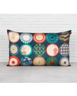 "India Circus Platter Portrayal 20"" x 12"" Blended Taf Silk Cushion Cover"