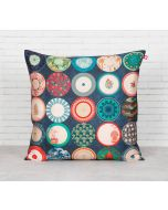 India Circus Platter Portrayal Blended Taf Silk Cushion Cover