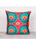 India Circus Platter Symmetry Blended Taf Silk Cushion Cover