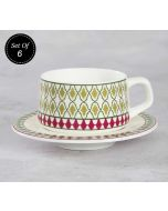 Rose Mallow Moscheutos Cup and Saucer (Set of 6)