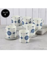 India Circus Royal Blue Coffee Mugs Set of 6