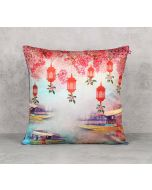India Circus Scarlet Shadow Blend Velvet 16 x 16 Cushion Cover