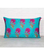 "India Circus Teal Flower Regalia 20"" x 12"" Blended Taf Silk Cushion Cover"