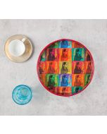 India Circus Tinted Queen Round Serving Tray