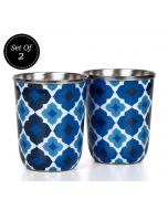 India Circus Ultramarine Tracery Steel Tumblers Set of 2