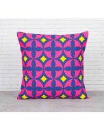 India Cirucs Elixir of Geometry Magenta Cotton Cushion Cover
