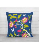 India Cirucs Fruits of The Tropic Blue Cotton Cushion Cover